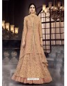 Peach Soft Net Embroidered Anarkali Suit