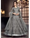 Grey Soft Net Embroidered Anarkali Suit