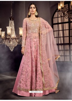 Pink Soft Net Embroidered Anarkali Suit