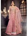 Pink Soft Net Embroidered Anarkali Suit