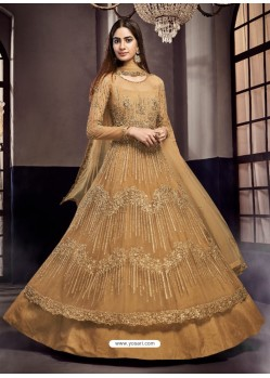 Golden Soft Net Embroidered Anarkali Suit