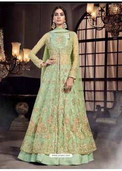 Green Soft Net Embroidered Anarkali Suit