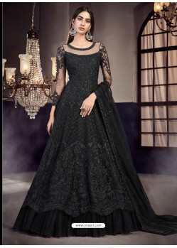 Black Soft Net Embroidered Anarkali Suit
