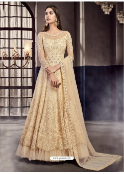 Light Beige Soft Net Embroidered Anarkali Suit