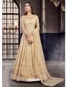 Light Beige Soft Net Embroidered Anarkali Suit