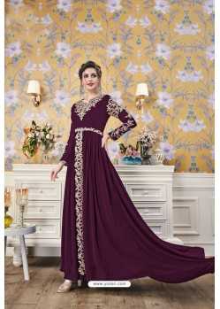 Purple Party Wear Georgette Designer Gown