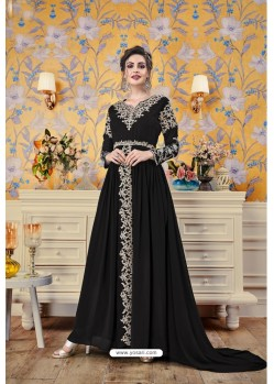 Black Party Wear Georgette Designer Gown