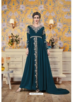 Teal Blue Party Wear Georgette Designer Gown