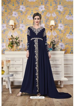 Navy Blue Party Wear Georgette Designer Gown