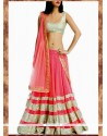 Hot Pink Patch Border Work A Line Lehenga Choli