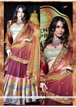 Malaika Arora Khan Patch Border Work Wine Net A Line Lehenga Choli
