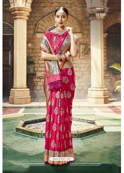 Rani Designer Wedding Wear Banarasi Silk Saree
