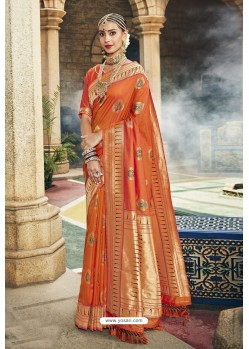 Latest Orange Designer Banarasi Silk Saree