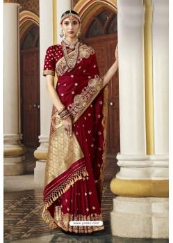 Maroon Designer Wedding Wear Banarasi Silk Saree
