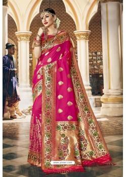 Rani Pink Wedding Wear Banarasi Silk Saree