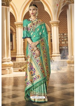 Green Designer Wedding Wear Banarasi Silk Saree