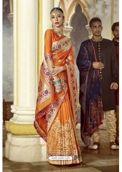 Amazing Orange Designer Wedding Wear Banarasi Silk Saree