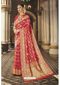 Elegant Red Designer Banarasi Silk Saree
