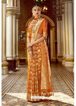 Perfect Orange Wedding Wear Banarasi Silk Saree