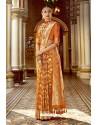 Perfect Orange Wedding Wear Banarasi Silk Saree
