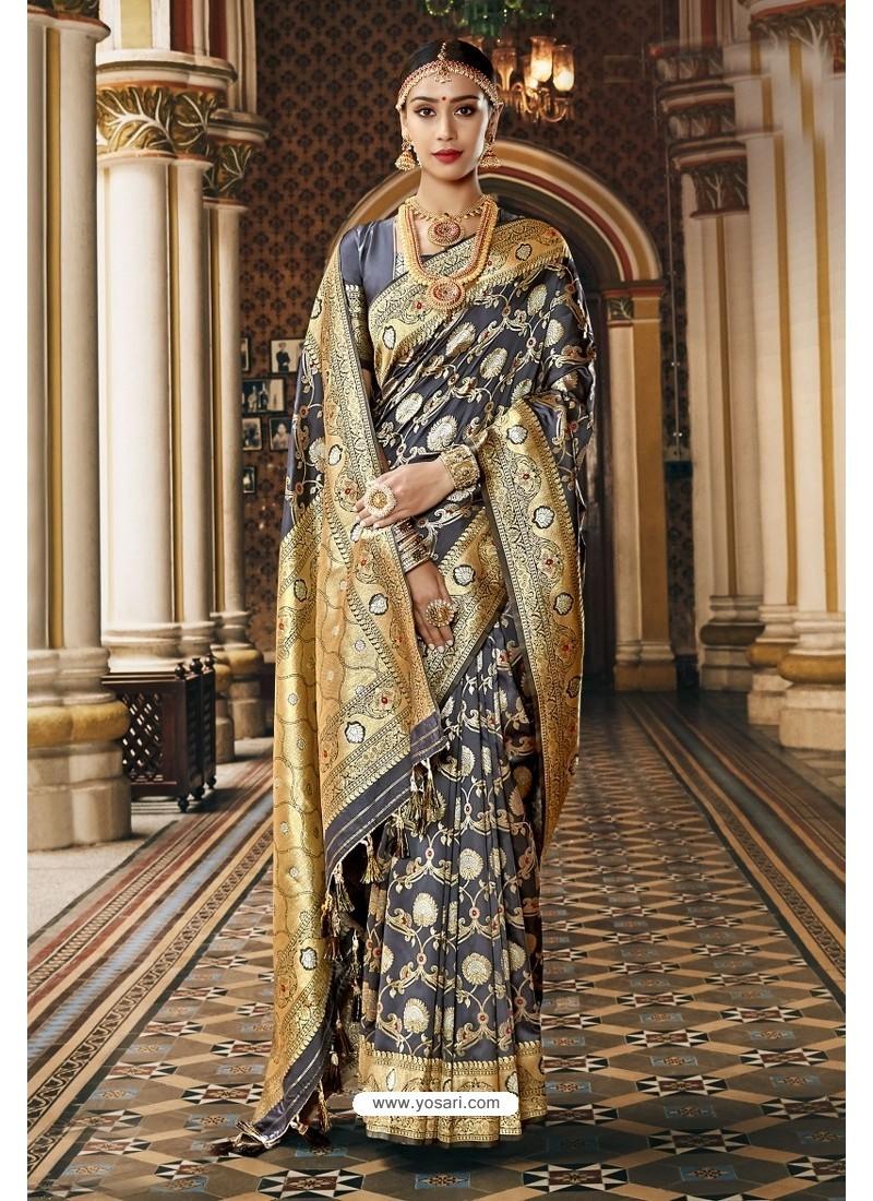 Dark Grey Designer Wedding Wear Banarasi Silk Saree