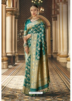 Dark Green Wedding Wear Banarasi Silk Saree
