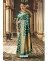 Dark Green Wedding Wear Banarasi Silk Saree