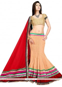 Genius Embroidered Work Cream And Red A Line Lehenga Choli