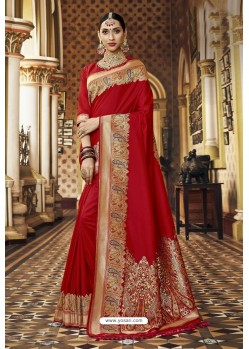 Red Banarasi Silk Designer Saree
