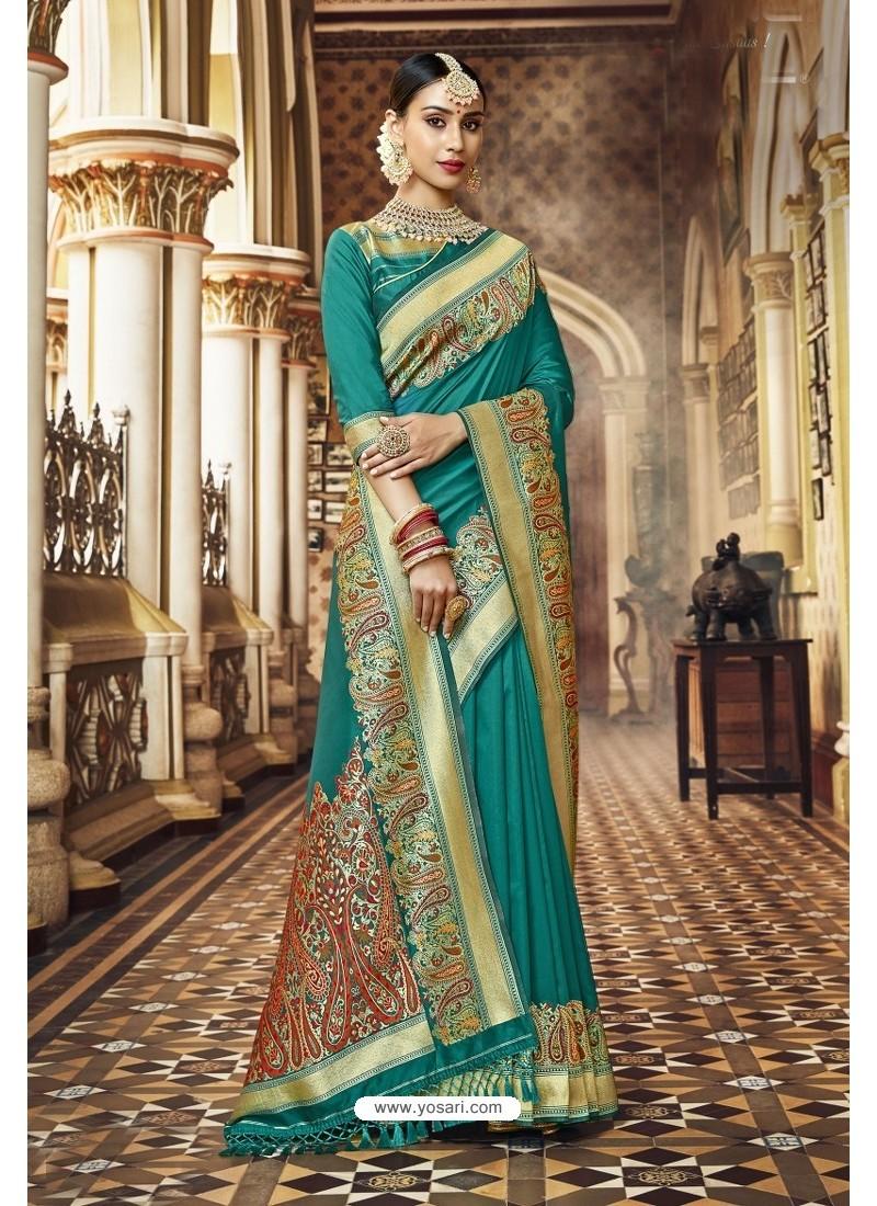 Teal Banarasi Silk Designer Saree