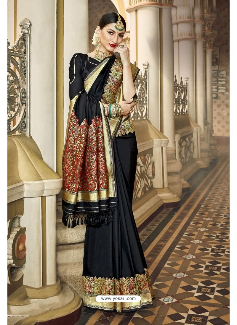 Black Banarasi Silk Designer Saree