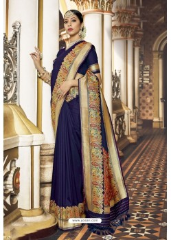 Purple Banarasi Silk Designer Saree