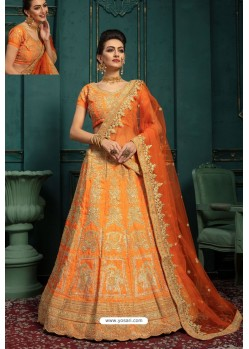 Orange Embroidered Malbari Silk Designer Lehenga Choli