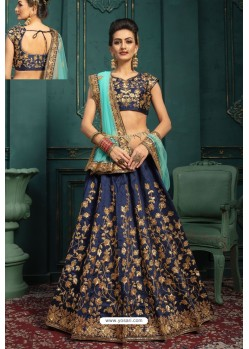 Navy Blue Embroidered Malbari Silk Designer Lehenga Choli