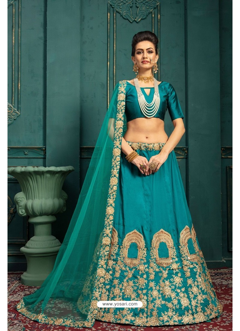 Teal Embroidered Malbari Silk Designer Lehenga Choli