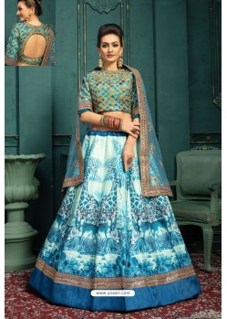 Sky Blue Embroidered Malbari Silk Designer Lehenga Choli
