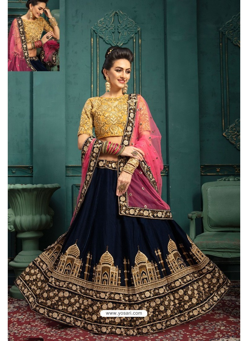 Navy And Yellow Embroidered Velvet Designer Lehenga Choli