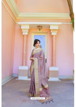 Mauve Soft Handloom Weaving Silk Saree