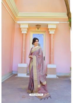 Mauve Soft Handloom Weaving Silk Saree