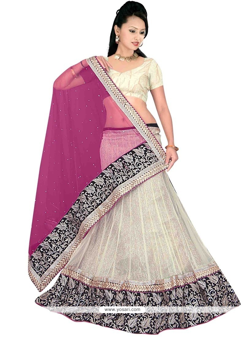 Topnotch Net Embroidered Work A Line Lehenga Choli