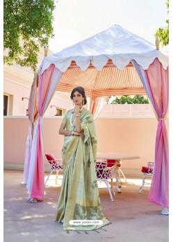 Sea Green Soft Handloom Weaving Silk Saree