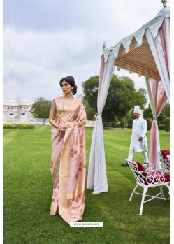 Peach Soft Handloom Weaving Silk Saree