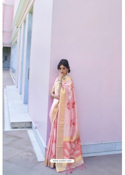 Pink Soft Handloom Weaving Silk Saree