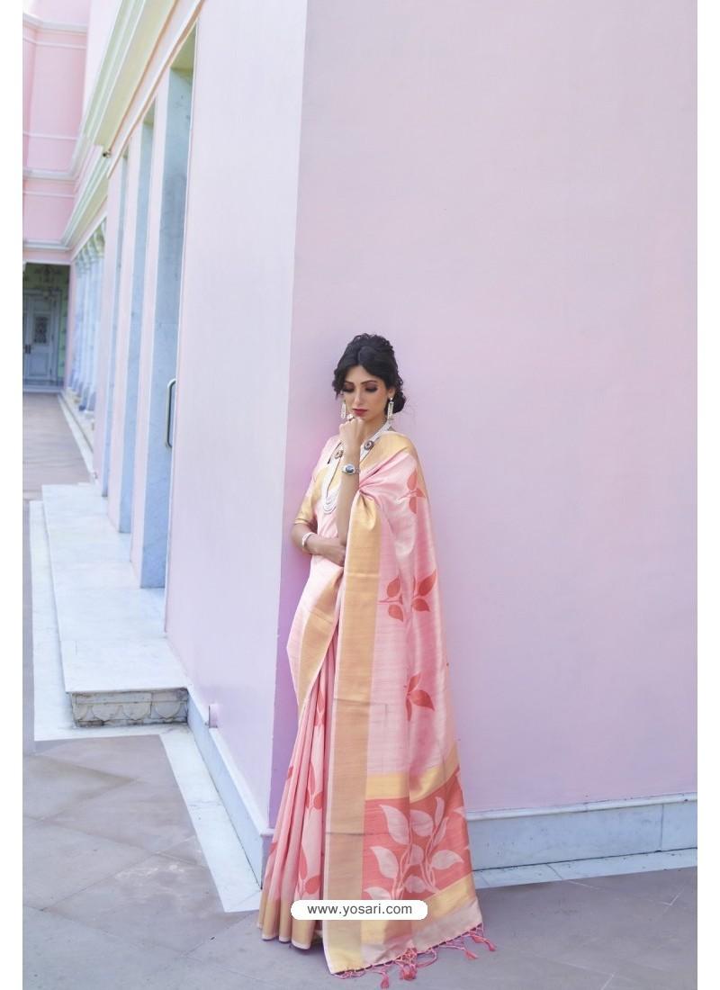 Pink Soft Handloom Weaving Silk Saree