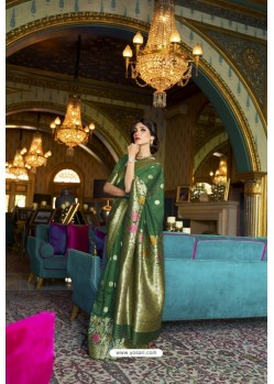Dark Green Designer Multi Slub Soft Silk Saree