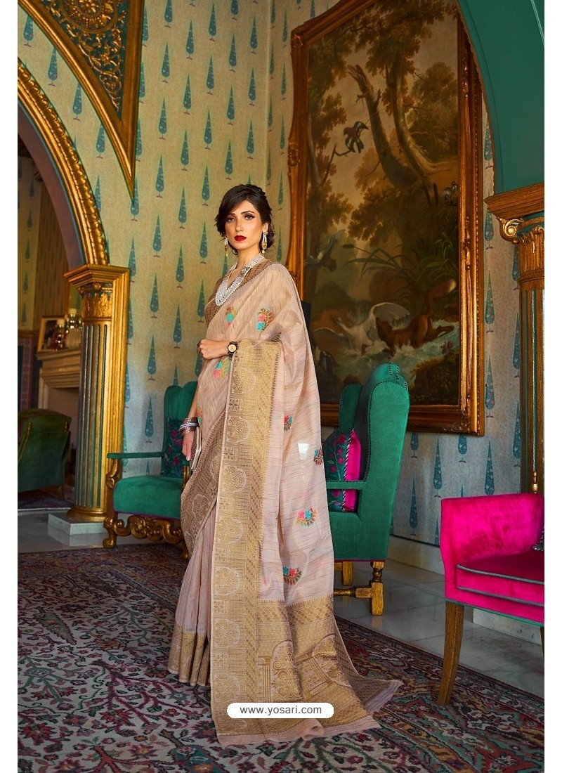 Light Beige Designer Multi Slub Soft Silk Saree