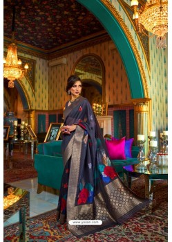 Navy Blue Designer Multi Slub Soft Silk Saree