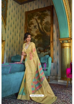 Lemon Designer Multi Slub Soft Silk Saree