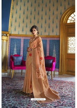 Peach Designer Multi Slub Soft Silk Saree