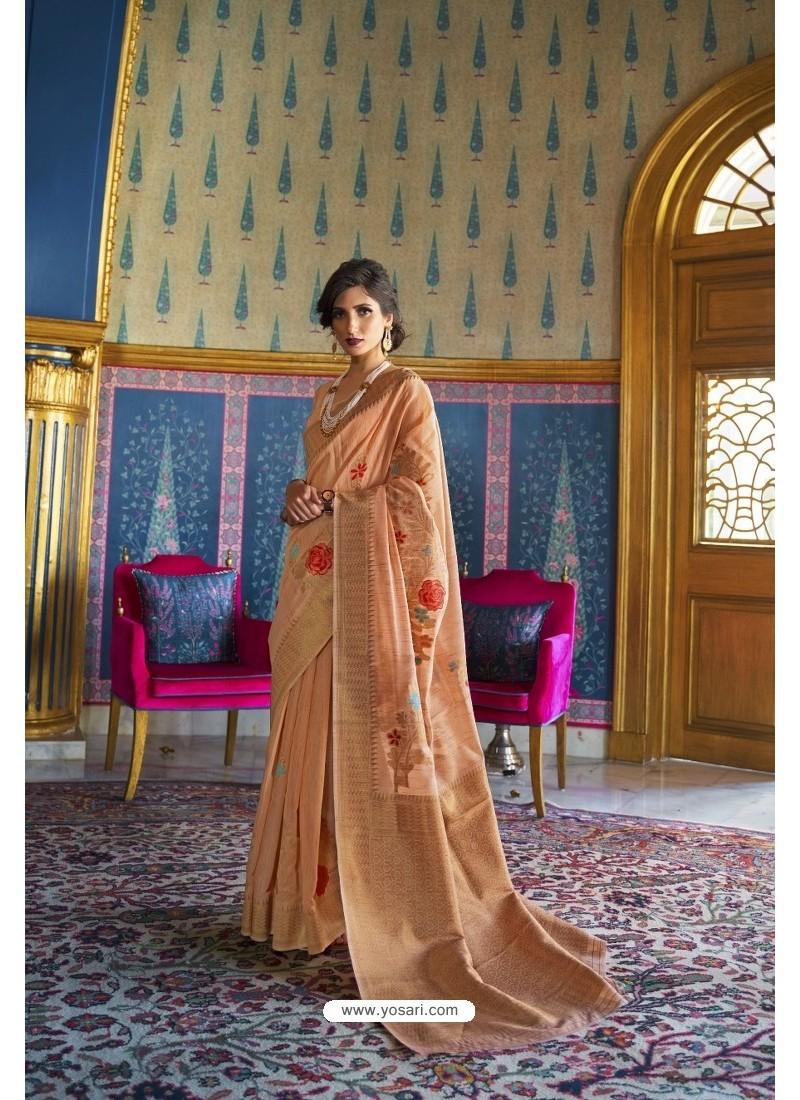 Peach Designer Multi Slub Soft Silk Saree